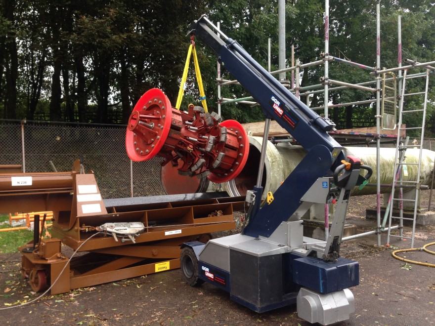 G20 Pick & Carry Crane lifting a cleaning pig