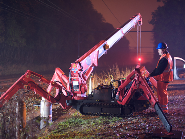 A GGR Group trained crane operator working on the rail infrastructure
