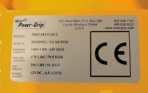 MRTA8 Quadra-Tilt Vacuum Lifters Serial Number 1