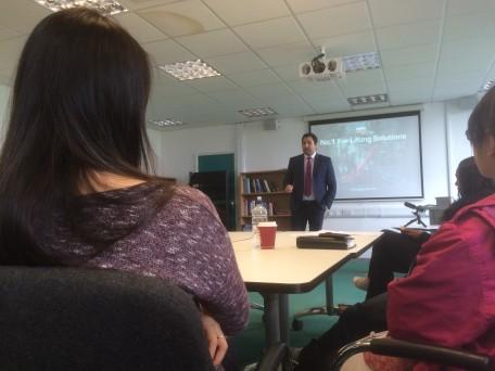 Daniel Ezzatvar gives a talk at Salford University