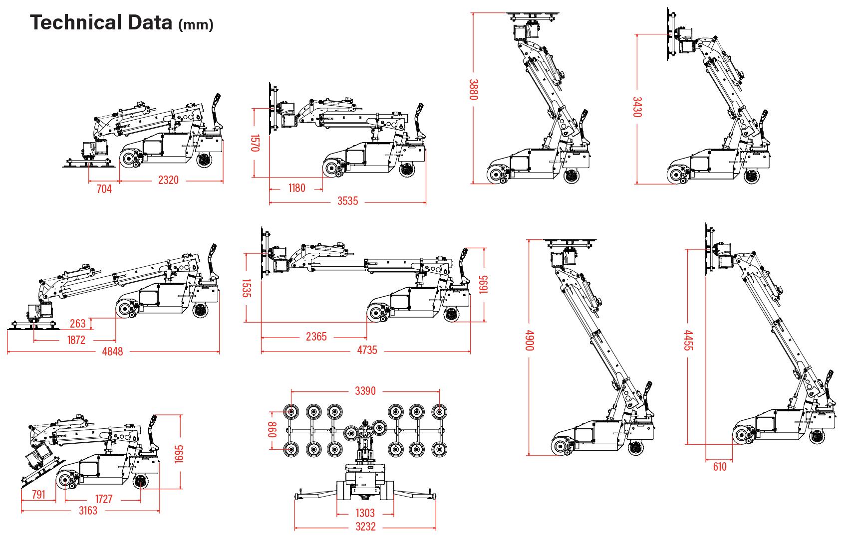 Oscar 1400 Glazing Robot Dimensions