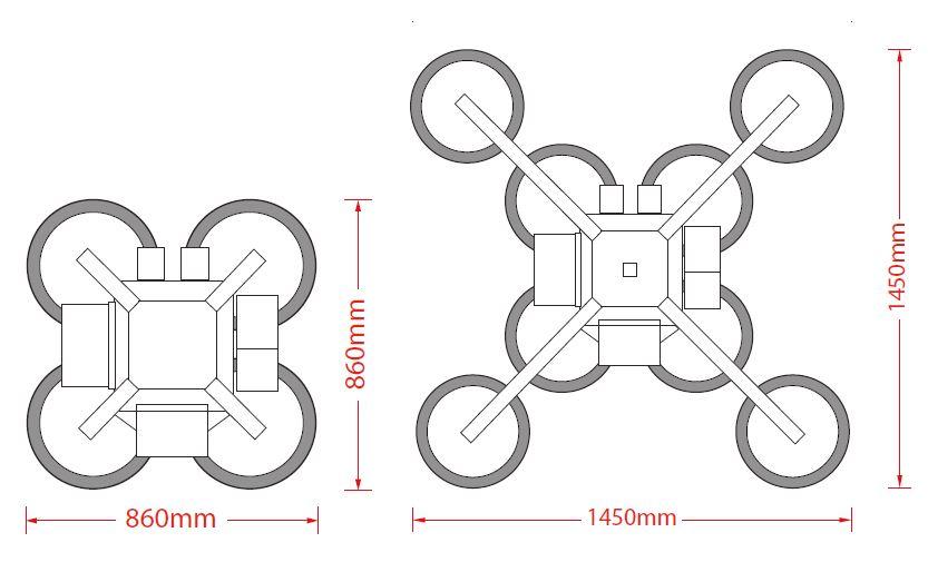 800 GL Vac Dimensions