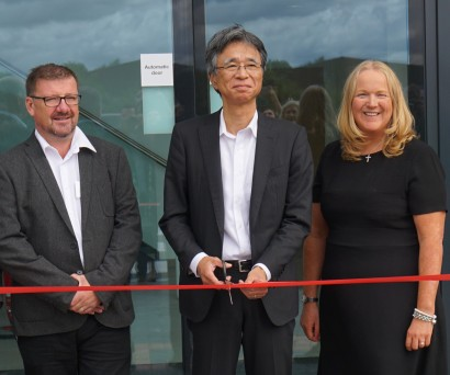 Cutting the ribbon: From left to right, Scott Ainsworth Technical Support Director, Minoru Nalatagowa, CEO of Unic Furukawa, Gill Riley, GGR Group Managing Director